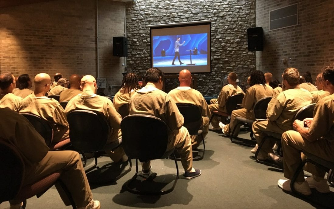 Inmates watching Craig Groeschel at the GLS in 2018