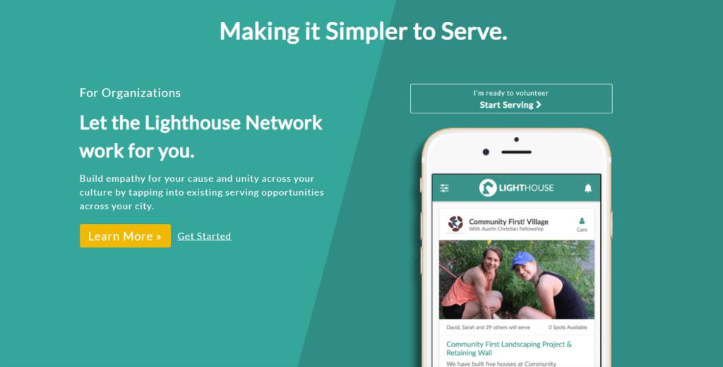 Screenshot of Project Lighthouse Website
