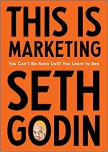 The book cover of This is Marketing by Seth Godin.