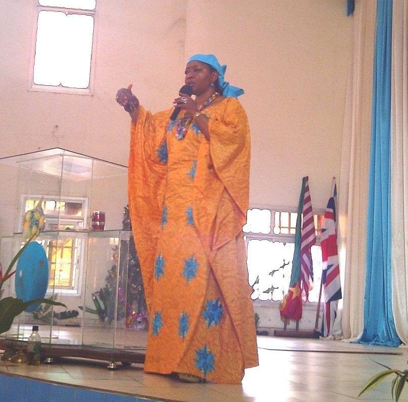Bishop Angela preaching in Cameroon