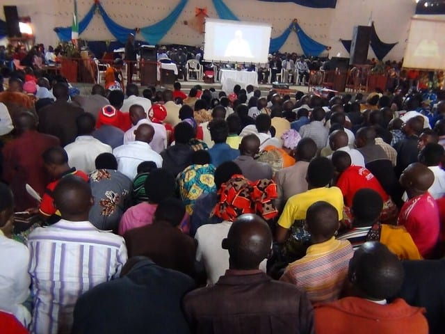 Attendees overflowing venue at GLS in Burundi