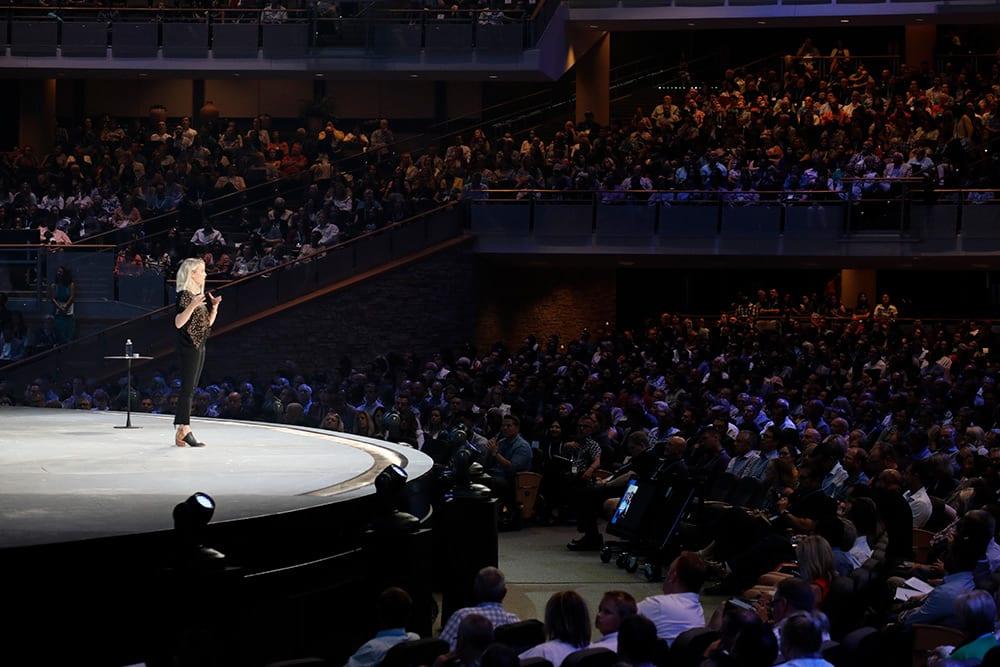 Liz Bohannon speaks at The Global Leadership Summit 2019 on the main stage.