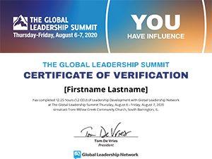GLS20 Certificate of Attendance